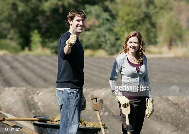 THE OFFICE 'Money' Episode 4 Aired Pictured John Krasinski as Jim Halpert and Jenna Fischer as Pam Beesly