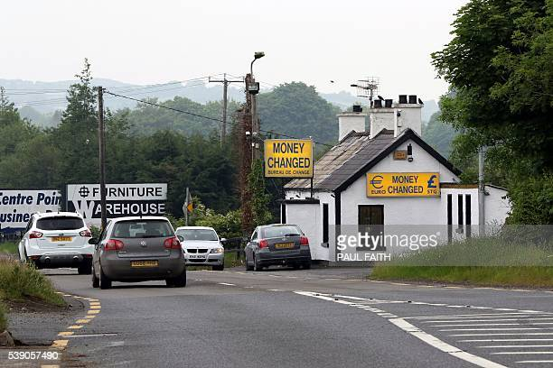 A money exchange office is pictured at the border between Newry in Northern ireland and Dundalk in The Republic of Ireland on June 7 2016 The border...