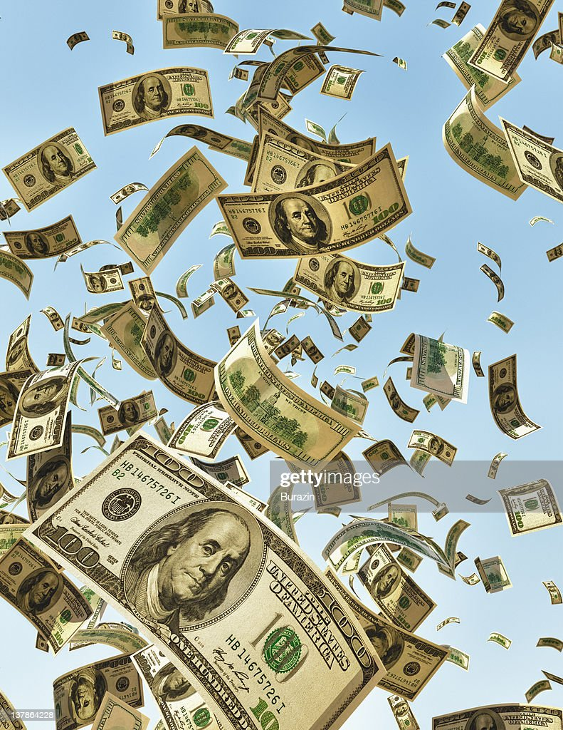 Money falling from the sky : Stock Photo