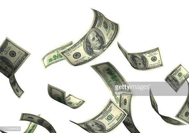 money falling - american one hundred dollar bill stock pictures, royalty-free photos & images