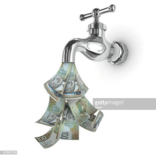 money faucet - canadian dollar - canadian dollars stock pictures, royalty-free photos & images