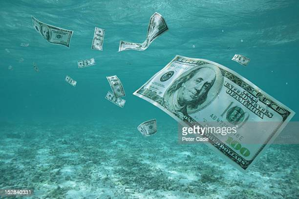 Money floating in ocean