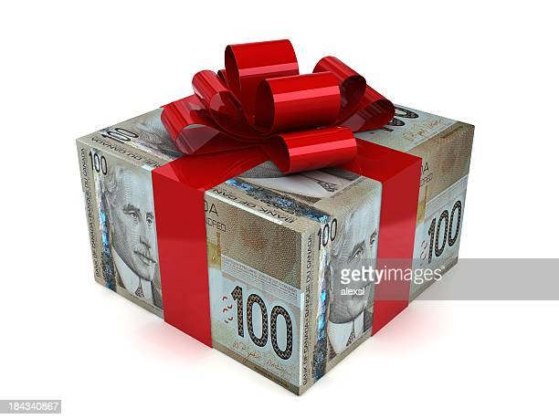 money gift - canadian dollars - canadian currency stock pictures, royalty-free photos & images