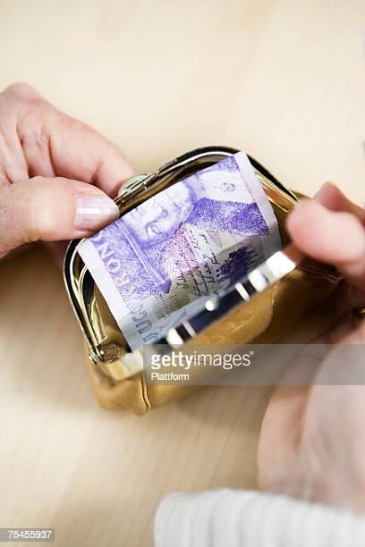 Money in a wallet.