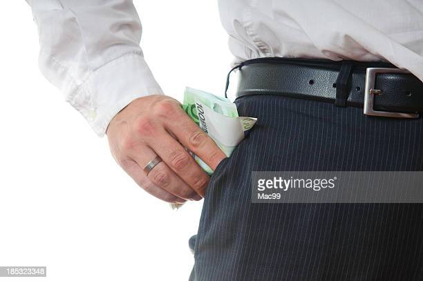 money in pocket - business man - bringing home the bacon stock pictures, royalty-free photos & images