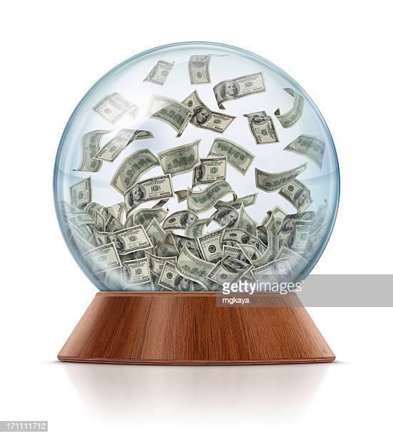 Dinheiro em Bola de Cristal com Neve