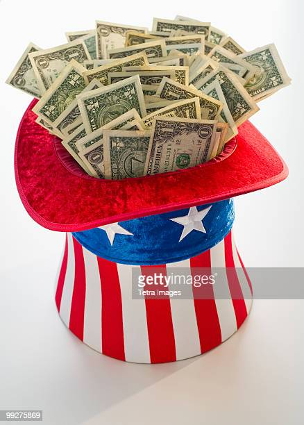 Money in Uncle Sam's hat