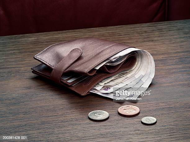 money in wallet, coins on table - small group of objects stock pictures, royalty-free photos & images