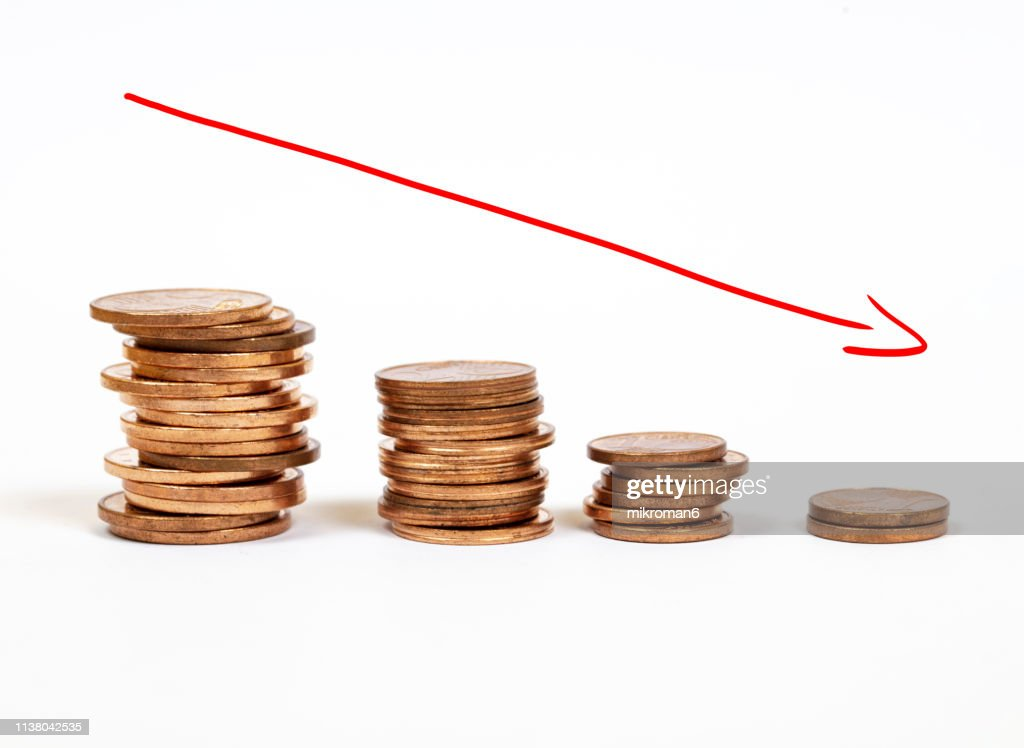 Money incline or decline : Foto de stock