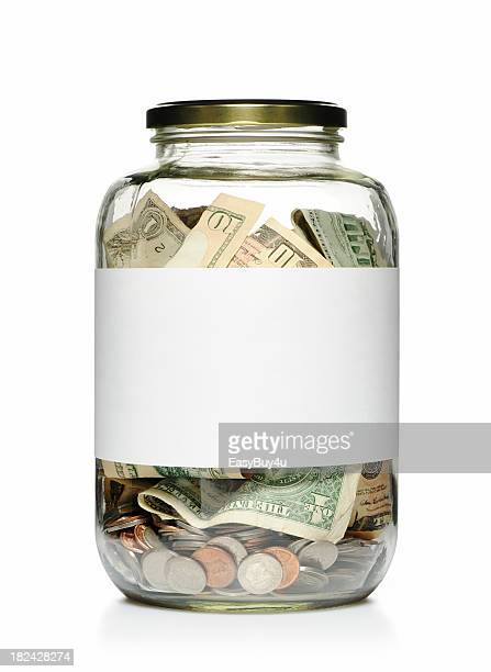Money jar with blank label
