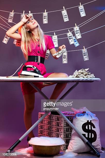 Money laundering activities woman tired