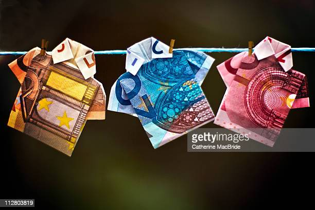 money laundering - twenty euro banknote stock photos and pictures