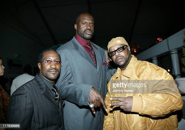 Money Mark, Shaquille O'Neal and DJ Kay Slay during Carmelo Anthony NBA All Star Party Hosted By Kay Slay and Shaquille O'Neal at Paladium in Denver,...