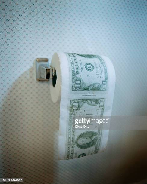 money on toilet paper roll - funny toilet paper imagens e fotografias de stock