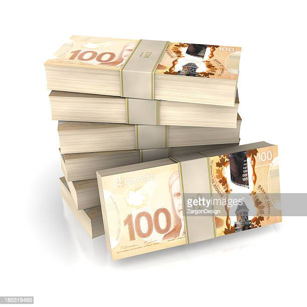 money pile canadian - canadian dollars stock pictures, royalty-free photos & images
