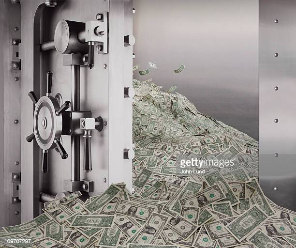 Money Pouring Out of a Bank Vault
