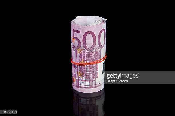 A money roll of five hundred euro bills