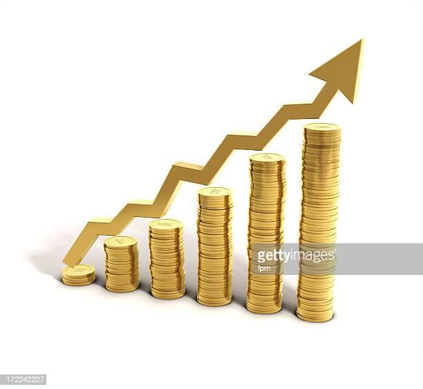 費用を削減するグラフ - 稼ぐ ストックフォトと画像
