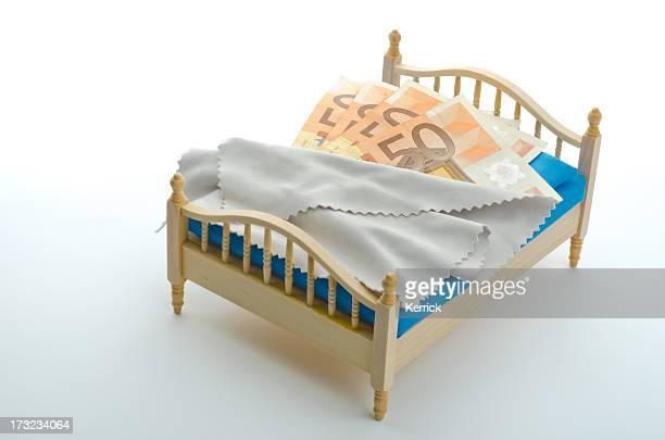 Geld schlafen, gut Euro im Bett