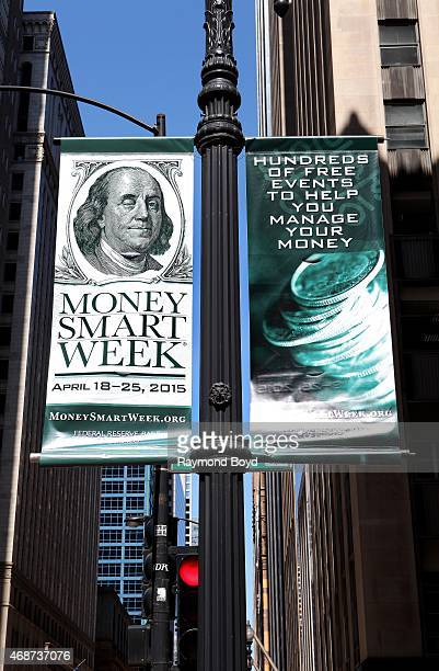 """""""Money Smart Week"""" banners hangs outside the Rookery Building on April 4, 2015 in Chicago, Illinois."""