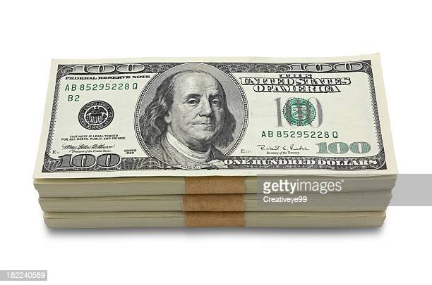 money stack - american one hundred dollar bill stock pictures, royalty-free photos & images