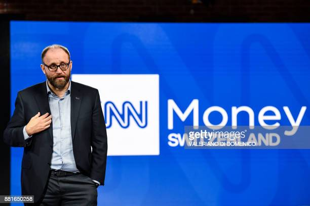 CNN Money Switzerland CEO Christophe Rasch talks during a press conference at their television studios in Zurich on November 29 2017 The...