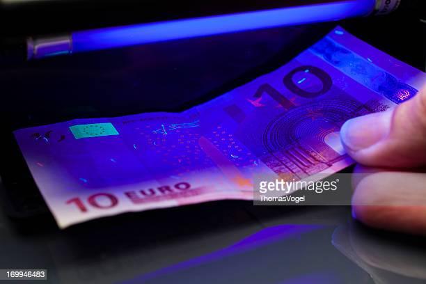 Prueba de Detector de dinero Euro moneda falsa Check