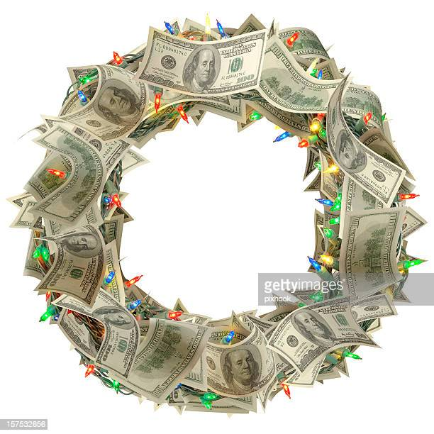 money wreath - christmas cash stock pictures, royalty-free photos & images
