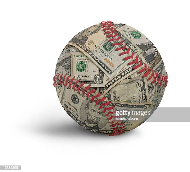 moneyball, a baseball composited with u.s. money - baseball sport stock pictures, royalty-free photos & images