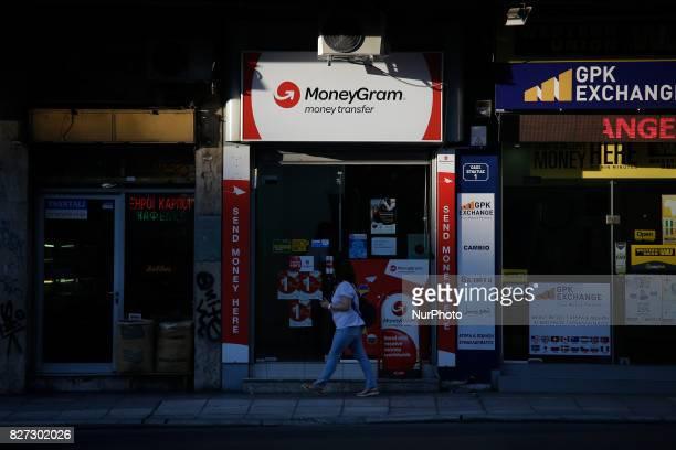A MoneyGram money transfer office is seen in downtown Thessaloniki on 3 August 2017
