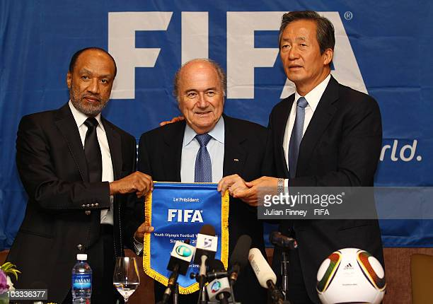 Mong Joon Chung Chairman of Olympic football tournaments Joseph Sepp Blatter FIFA President and Bin Hammam Mohamed Asia Football Confederation...