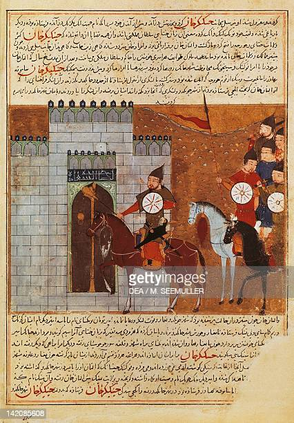 Mongol soldiers on horseback laying seige to a fortress miniature from History of the Turkish tribes and the Dynasty of Genghis Khan by Rashid alDin...
