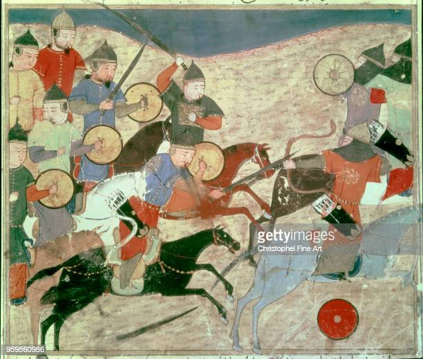 Mongol warriors escape of Nogai Rashid Al Din Bibliotheque Nationale de France in Paris Persian