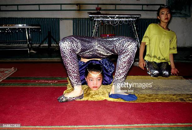 MNG Mongolia a famous snake girs of the Mongolian state circus training in Ulaanbaatar