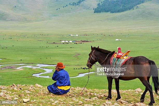 mongolia, arkhangai, mongolian horserider - semi arid stock pictures, royalty-free photos & images