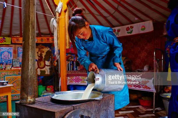 Mongolia, Bayankhongor, nomad camp, making butter