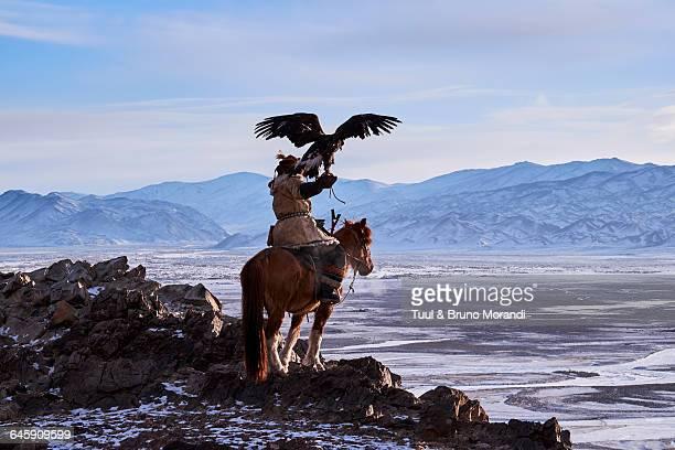 mongolia, bayan-olgii, eagle hunter - モンゴル ストックフォトと画像