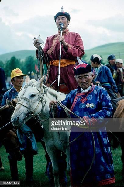 Mongolia, eulogy on the winning horse of the horse race at the Naadam festival in Tsertserleg, Arhangay province.