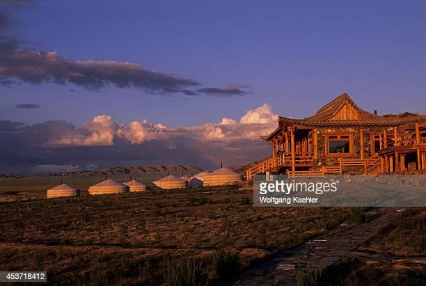 Mongolia Gobi Desert Near Dalanzadgad Grasslands Three Camel Lodge Gers