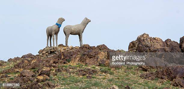 mongolia: hilltop statues at khanbogd ger camp - omnogov stock pictures, royalty-free photos & images