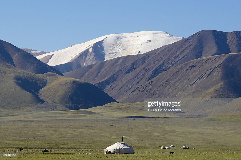 Mongolia. Kazakh yurt in Altai mountain. : Stock Photo