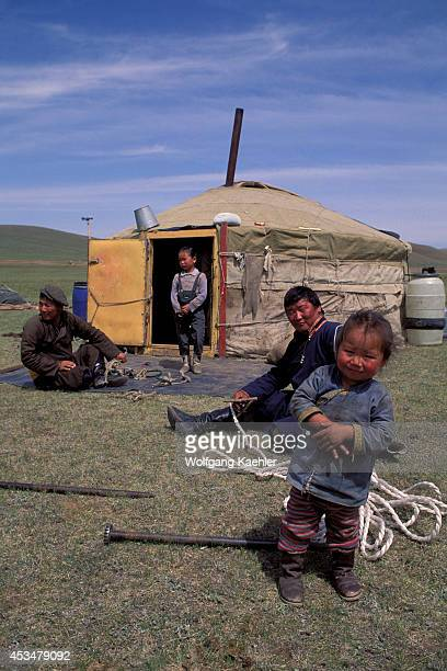 Mongolia Near Ulan Bator Grassland Yurt People Making Rope
