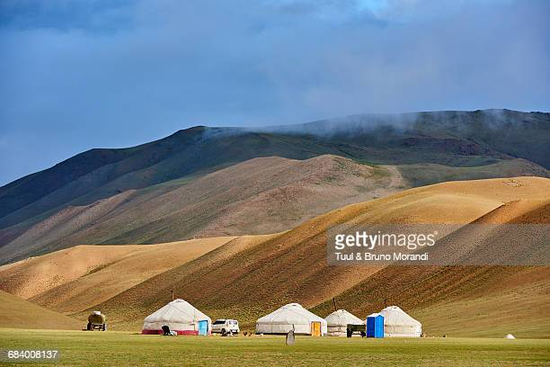 mongolia, nomad camp in the altay range - independent mongolia stock pictures, royalty-free photos & images