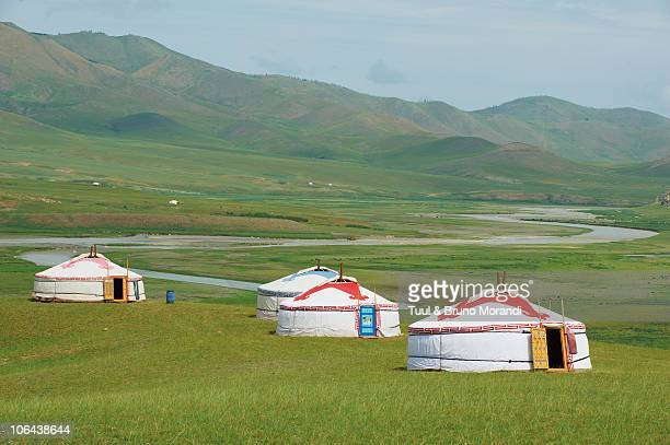 Mongolia, Orkhon valley, tourist yurt camp.