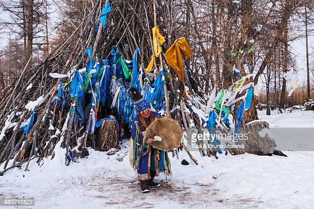 Mongolia, shaman woman in ritual