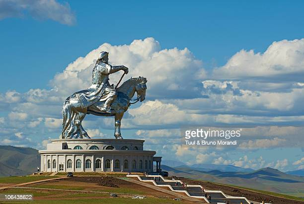 mongolia, tov province, gengis khan monument. - genghis khan stock pictures, royalty-free photos & images