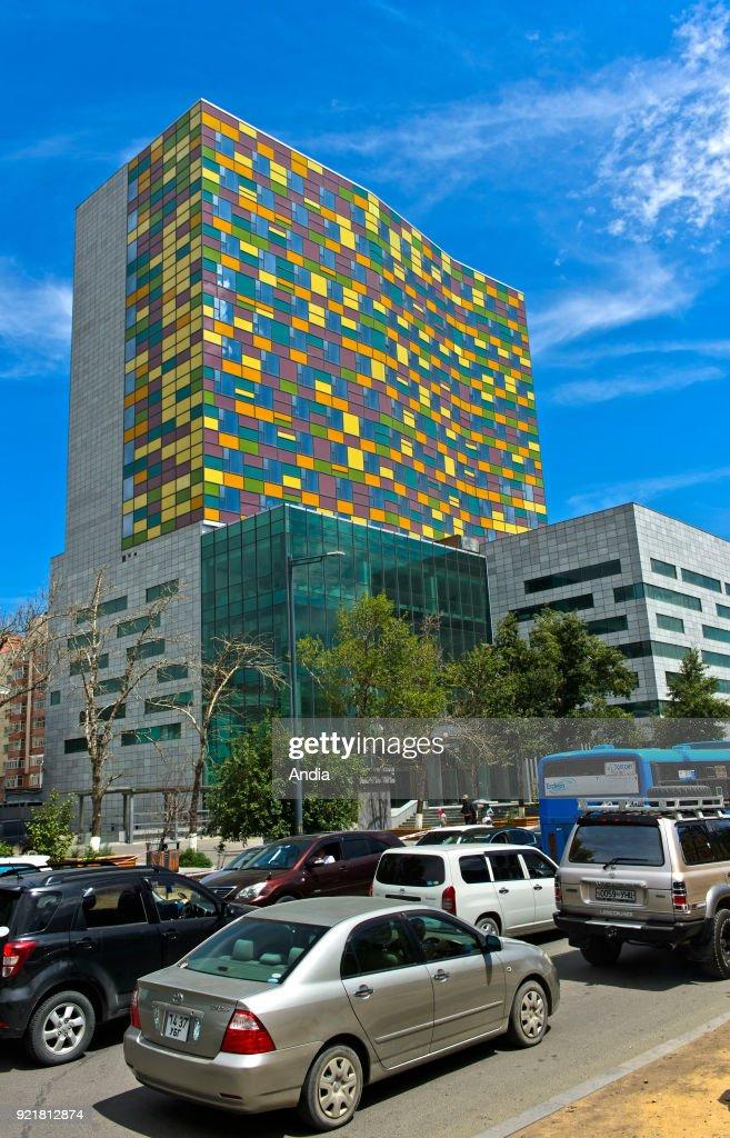 Ulan Bator, modern building's facade. : News Photo