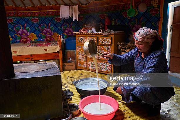 Mongolia, woman brewing milk in the yurt