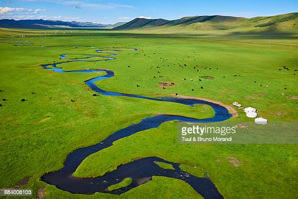 mongolia, yurt nomad camp in a valley - independent mongolia stock pictures, royalty-free photos & images