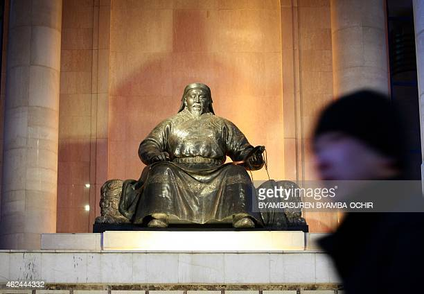 MongoliaChinaUStelevisionculture FEATURE by Khaliun Bayartsogt This picture taken on January 28 2015 shows the statue of Kublai Khan in front of the...